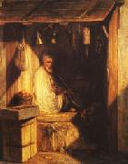 Turkish Merchant smoring in His shop Alexandre Gabriel Decamps