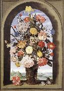 Bouquet in an Arched Window  yuyt BOSSCHAERT, Ambrosius the Elder