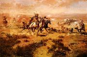The Attack on the Wagon Train Charles M Russell