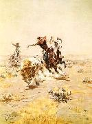 O.H.Cowboys Roping a Steer Charles M Russell