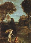 Landscape with Tobias Laying Hold of the Fish Domenichino