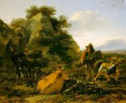 Landscape with Herdsmen Gathering Sticks Nicholaes Berchem