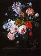 A Tulip, Carnations and Morning Glory in a Glass Vase Nicolaes Van Verendael