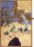 The saintly Bishr fishes up the corpse of the blaspheming Malikha from the magic well which is the fount fo life Bihzad
