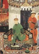 Timur enthroned and holding the white kerchief of rule Bihzad