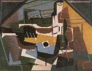 Guitar winebottle and cup Juan Gris