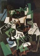 Fruit dish pipo and newspaper Juan Gris