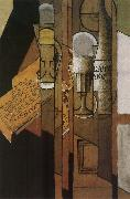 Cup newspaper and winebottle Juan Gris
