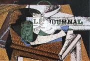 Fruit dish book and newspaper Juan Gris