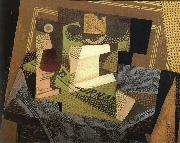 Fruit dish on the blanket in blue color Juan Gris