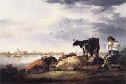 Cows and Herdsman by a River Aelbert Cuyp