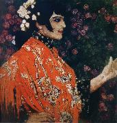 The Woman of spanish had on a shawl red Alexander Yakovlevich GOLOVIN