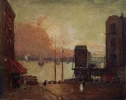 Cumulus Clouds,East River Robert Henri