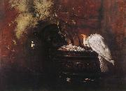 Still life and parrot William Merritt Chase