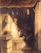 Tukish Merchant Smoking in his Shop Alexandre Gabriel Decamps