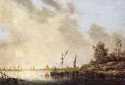 A River Scene with Distant Windmills Aelbert Cuyp