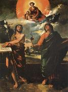 The Madonna in the glory with the Holy Juan the Baptist and Juan the Evangelist Dosso Dossi