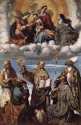 Saint Bernardino with Saints Jerome,Joseph,Francis and Nicholas of Bari,Virgin and Child in Glory with Saints Catherine of Alexandria and Clare MORETTO da Brescia