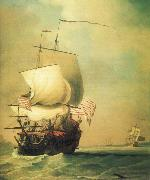 An English East Indiaman bow view Monamy, Peter