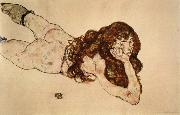 Female Nude Lying on  Her Stomach Egon Schiele