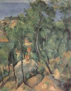 Boulders,Pine trees and sea at l-estaque Paul Cezanne