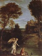 Landscape with Tobias as far hold of the fish Domenichino