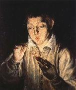 A Boy blowing on an Ember to light a candle El Greco