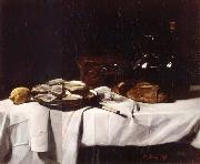 Still life with Lemon and Oysters Francois Bonvin