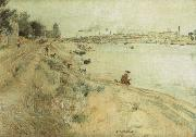 Fisherman on the Bank of The Seine Jean-francois raffaelli