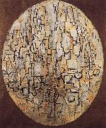 Conformation of oblong with tree Piet Mondrian