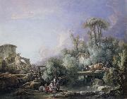 Landscape with a Young Fisherman Francois Boucher