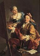 Self-Portrait wiht his Daughter,Maria Antonia Georges desmarees