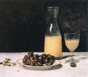 still life with wine and chestnuts Albert Anker