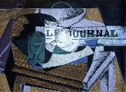 fruit dish ,book ,and newspaper Juan Gris