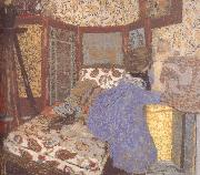 Ms. wearing blue clothes and children Vuillard