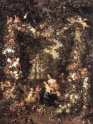 Heilige Familie in einem Blumen Jan Brueghel The Elder