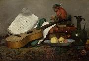 Still Life with a Monkey and a Guitar Antoine Vollon