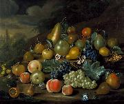A Still Life of Pears, Peaches and Grapes Charles Collins