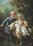 Charles of France and his sister Clotilde Francois-Hubert Drouais