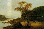 Landscape along a river with horsemen, possibly the Rhine. Jacob van der Does