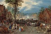 Village Scene with a Canal, Jan Brueghel The Elder