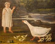 A girl and a goose with goslings Niko Pirosmanashvili