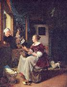 A young lacemaker is interrupted by a birdseller who offers her ware through the window Pieter Cornelisz. van Slingelandt