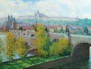 View of Prague Castle over the Charles Bridge by Czech painter Stanislav Feikl Stanislav Feikl
