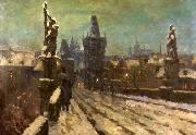Painting Winter on the Charles bridge Stanislav Feikl