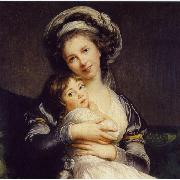 Self-Portrait in a Turban with Her Child elisabeth vigee-lebrun
