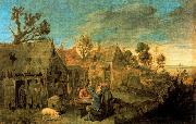 Village Scene with Men drinking Adriaen Brouwer