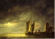 Fishing boats by moonlight. Aelbert Cuyp