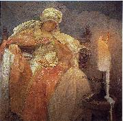 Woman With a Burning Candle Alphonse Mucha