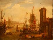 English and dutch ships taking on stores at a port Jacob Knyff